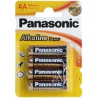 "BATTERIE STILO ""AA"" ALKALINE PANASONIC POWER PEZZI 4"