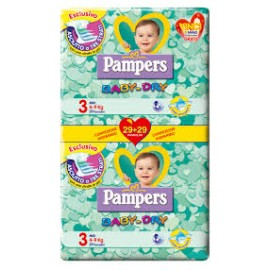 PANNOLINI PAMPERS BABY-DRY TAGLIA 3 PANNOLINI 58